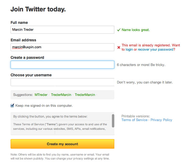 twiter form validation